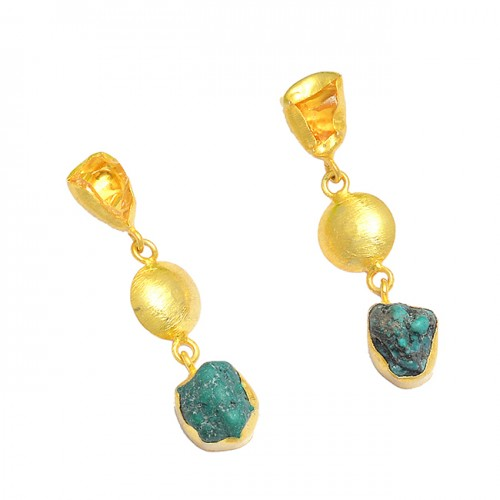 925 Sterling Silver Citrine Turquoise Rough Gemstone Gold Plated Dangle Stud Earrings