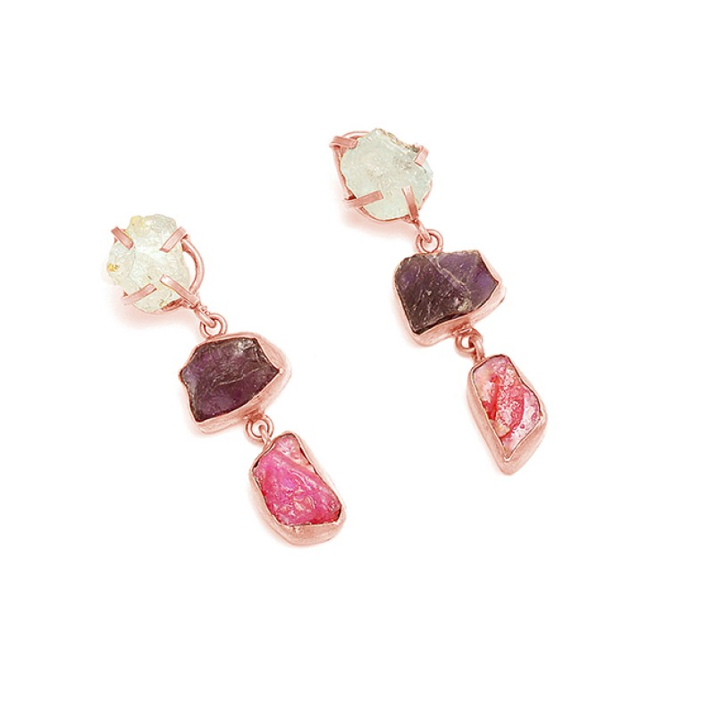Amethyst Ruby Aquamarine Rough Gemstone 925 Sterling Silver Gold Plated Earrings