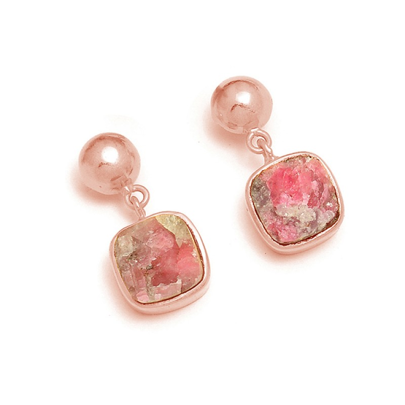 925 Sterling Silver Pink Tourmaline Rough Gemstone Gold Plated Dangle Stud Earrings