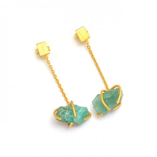 925 Sterling Silver Apatite Rough Gemstone Gold Plated Chain Stud Dangle Earrings