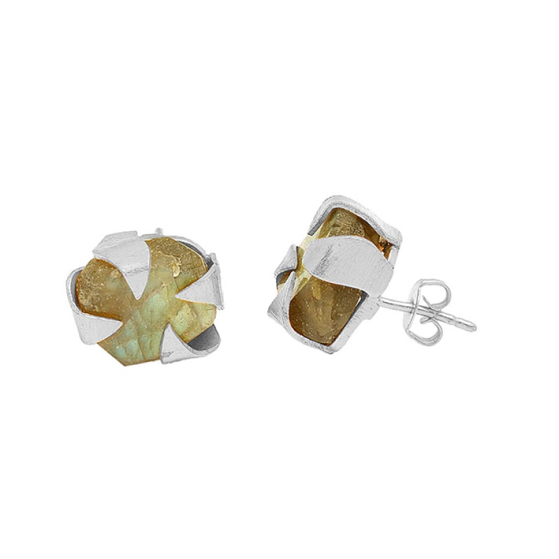 925 Sterling Silver Labradorite Rough Gemstone Gold Plated handmade Stud Earrings