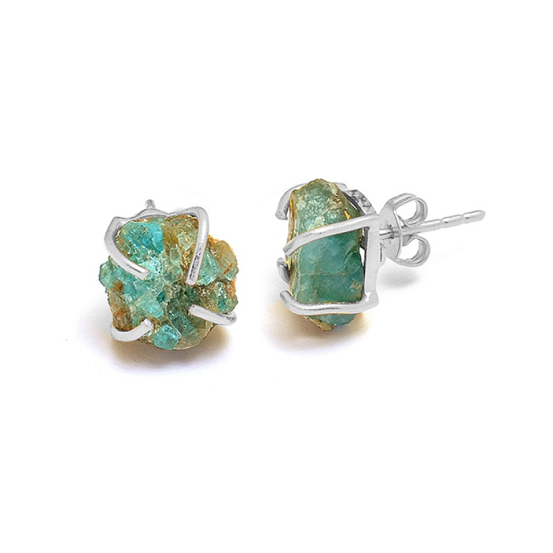 Raw Material Aquamarine Rough Gemstone 925 Silver Gold Plated Stud Earrings