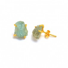 925 Sterling Silver Aquamarine Rough Gemstone Gold Plated Handmade Stud Earrings