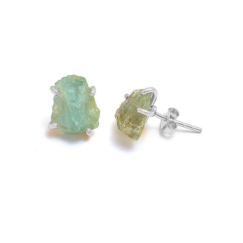 925 Sterling Silver Aquamarine Rough Gemstone Gold Plated Handmade Stud Earrings