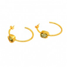 Raw Material Peridot Rough Gemstone 925 Sterling Silver Gold Plated Hoop Earrings