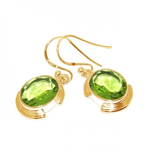 Faceted Oval Shape Peridot Gemstone 925 Sterling Silver Designer Dangle Earrings