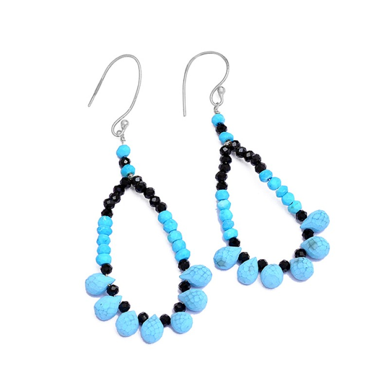 925 Sterling Silver Turquoise Black Onyx Gemstone Gold Plated Dangle Earrings