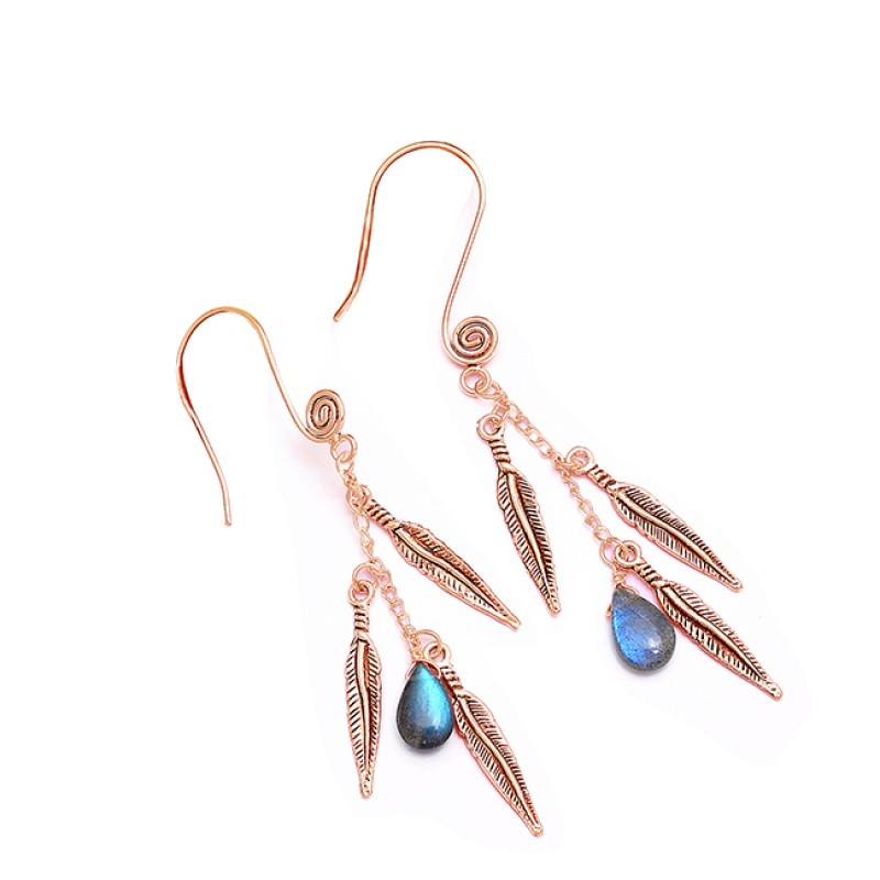 925 Sterling Silver Labradorite Pear Shape Gemstone Designer Dangle Earrings