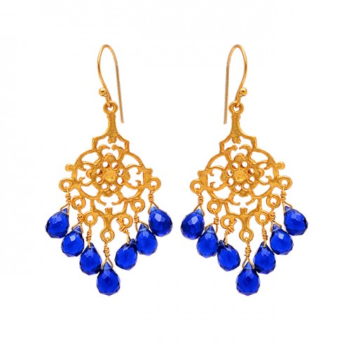 925 Sterling Silver Filigree Style Sapphire Gemstone Gold Plated Dangle Earrings