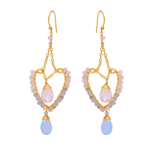 925 Sterling Silver Rainbow Moonstone Chalcedony Gemstone Gold Plated Earrings