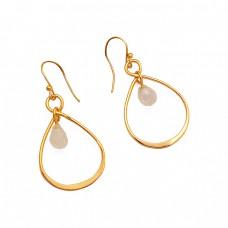 925 Sterling Silver Rainbow Moonstone Pear Drops Shape Gemstone Gold Plated Earrings