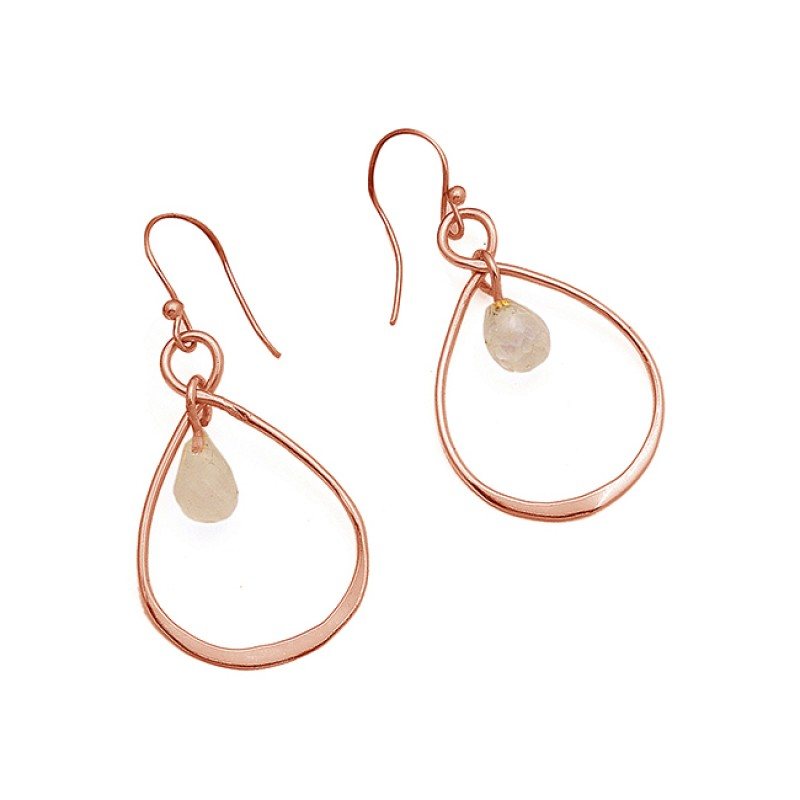 925 Sterling Silver Rainbow Moonstone Pear Drops Shape Gemstone Gold Plated Earrings