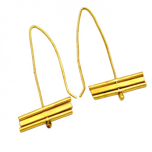 Handcrafted Designer Plain 925 Sterling Silver Gold Plated Ear Wire Earrings