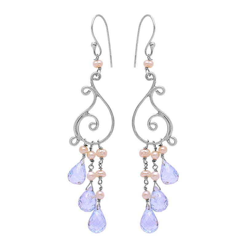 925 Sterling Silver Blue Topaz Pearl Gemstone Gold Plated Dangle Earrings