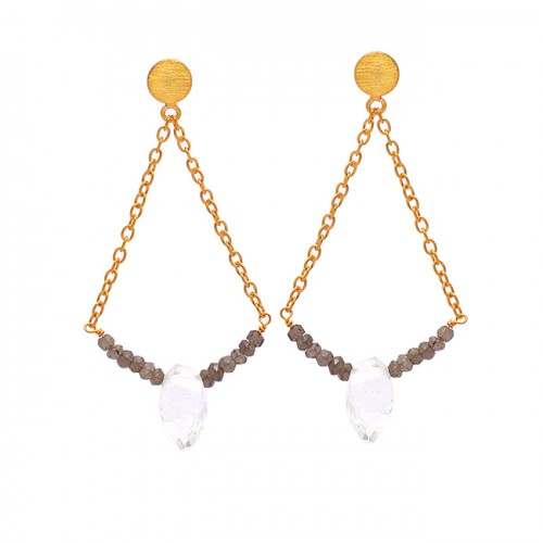 925 Sterling Silver Crystal Smoky Quartz Gemstone Gold Plated Chain Stud Earrings