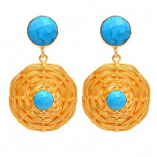 925 Sterling Silver Round Shape Turquoise Gemstone Gold Plated Dangle Earrings