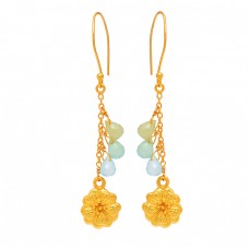 925 Sterling Silver Pear Drops Shape Chalcedony Gemstone Gold Plated Dangle Earrings