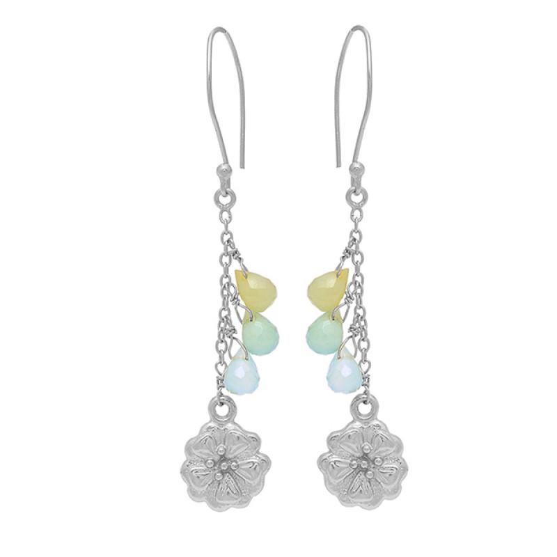 925 Sterling Silver Pear Drops Shape Chalcedony Gemstone Gold Plated Dangle Earrings