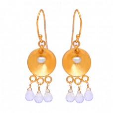 Rainbow Moonstone Pear Gemstone 925 Sterling Silver Gold Plated Dangle Earrings
