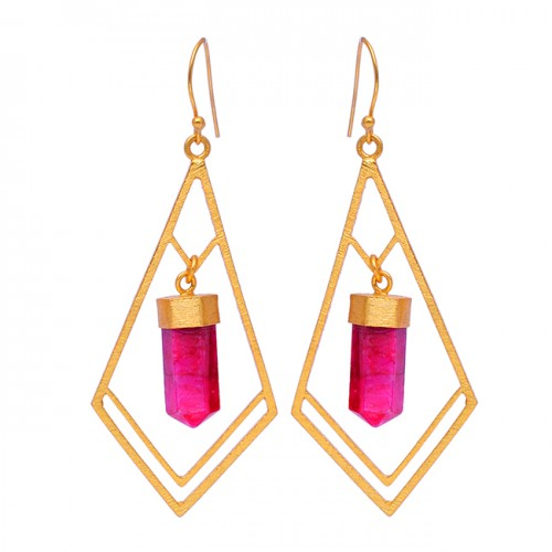 Ruby Step Cut Pencil Shape Gemstone 925 Sterling Silver Gold Plated Dangle Earrings