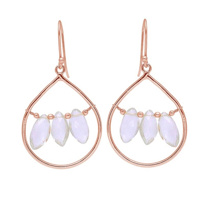 Marquise Shape Green Amethyst Gemstone 925 Sterling Silver Gold Plated Dangle Earrings