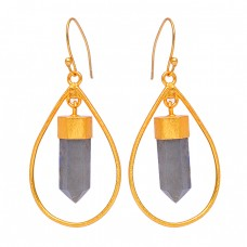 Step Cut Pencil Shape Labradorite Gemstone 925 Sterling Silver Gold Plated Earrings