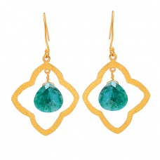 Heart Shape Emerald Gemstone 925 Sterling Silver Gold Plated Dangle Earrings