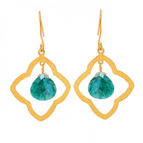 Heart Shape Emerald Gemstone 925 Sterling Silver Gold Plated Dangle Earrings