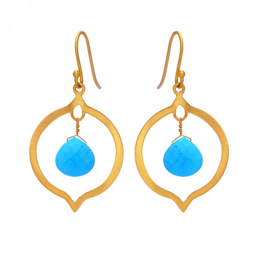 Briolette Heart shape Turquoise Gemstone 925 Sterling Silver Gold Plated Dangle Earrings