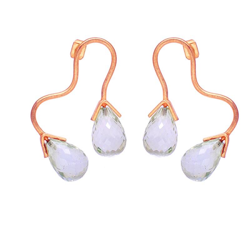 Crystal Pear Drops Shape Gemstone 925 Sterling Silver Gold Plated Hoop Earrings