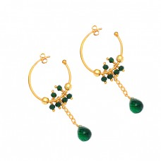 925 Sterling Silver Green Onyx Gemstone Gold Plated Dangle Hoop Earrings