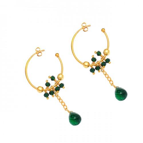 925 Sterling Silver Green Onyx Gemstone Gold Plated Dangle Hoop Earrings