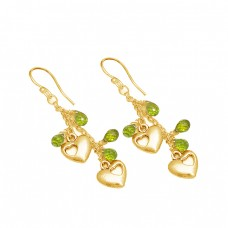 Peridot Pear Drops Shape Gemstone 925 Sterling Silver Designer Dangle Earrings