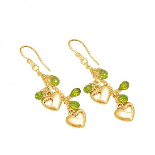 Peridot Pear Drops Shape Gemstone 925 Sterling Silver Designer Dangle Earrings