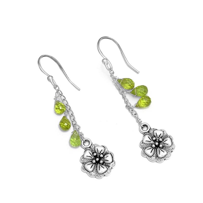 925 Sterling Silver Peridot Pear Drops Shape Gemstone Chain Dangle Earrings