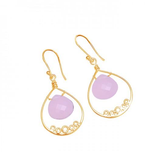 Heart Shape Rose Chalcedony Gemstone 925 Sterling Silver Designer Dangle Earrings