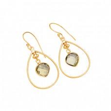 Briolette Heart Shape Lemon Quartz Gemstone 925 Sterling Silver Dangle Earrings