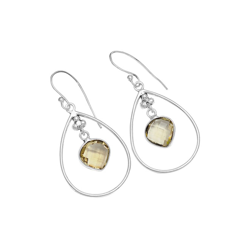 Briolette Heart Shape Lemon Quartz Gemstone 925 Sterling Silver Dangle Earrings