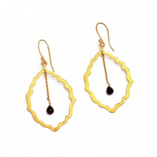Black Onyx Pear Drops Shape Gemstone 925 Sterling Silver Gold Plated Dangle Earrings