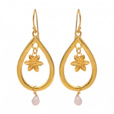 925 Sterling Silver Pear Drops Rose Chalcedony Gemstone Gold Plated Dangle Earrings