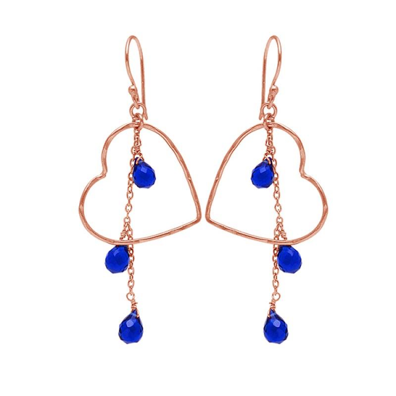Pear Drops Shape Blue Sapphire Gemstone 925 Sterling silver Gold Plated Dangle Earrings