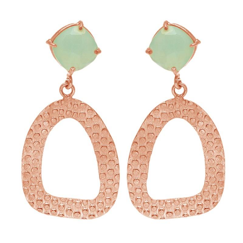 Square Shape Aqua Chalcedony Gemstone 925 Sterling Silver Gold Plated Dangle Earrings