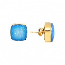 Cushin Shape Blue Druzy Gemstone 925 Sterling Silver Gold Plated Stud Earrings