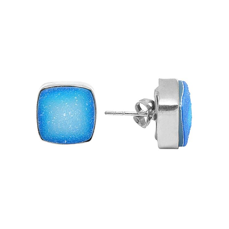 Cushin Shape Blue Druzy Gemstone 925 Sterling Silver Gold Plated Stud Earrings