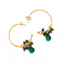 Roundel Beads Pear Drops Shape Green Onyx Gemstone 925 Silver Gold Plated Hoop Earrings