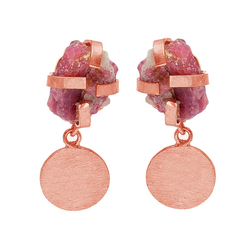 Raw Material Pink Tourmaline Rough Gemstone 925 Silver Gold Plated Stud Earrings