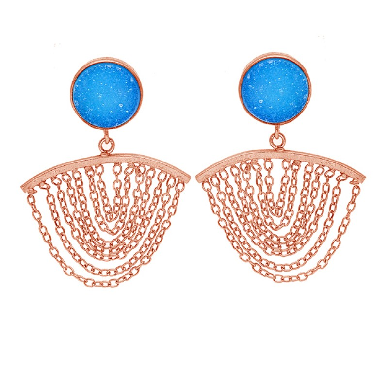 Round Shape Blue Druzy Gemstone 925 Silver Gold Plated Hanging Chain Stud Earrings