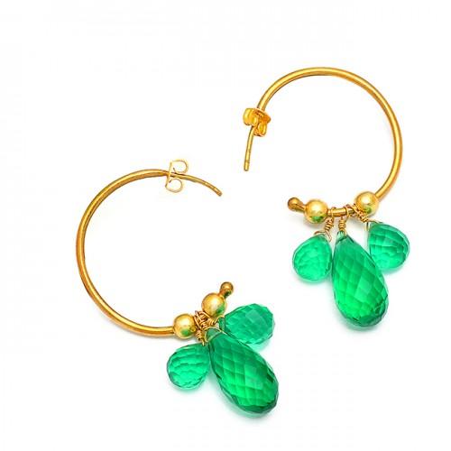 Pear Drops Shape Green Quartz Gemstone 925 Sterling Silver Gold Plated Hoop Earrings