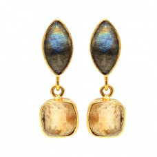 Labradorite Citrine Gemstone 925 Sterling Silver Gold Plated Dangle Stud Earrings