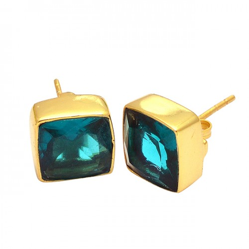 Faceted Square Shape Green Quartz Gemstone 925 Silver Gold Plated Stud Earrings